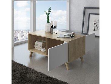 Home Innovation - Couchtisch mit Türen, Esszimmer, Modell WIND, Strukturfarbe Puccini, Farbe weiße Türen, Maße 92x50x45cm hoch.