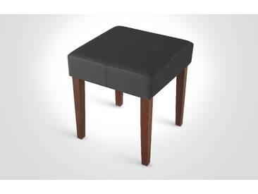 Echtleder Design Hocker in schwarz mit kolonialfarbenen Beinen MUTRI