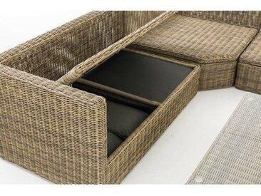 6-Sitzer Lounge-Set Naranjo aus Polyrattan mit Polster