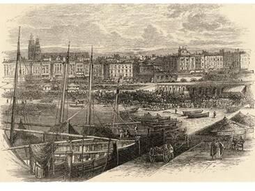 Leinwandbild The Port of Barcelona, Spain, from Spanish Pictures, Kunstdruck von Reverend Samuel Manning, Published in 1870
