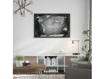 Leinwandbild World Map Black and White - Deutsch, Grafikdruck in Schwarz