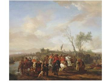 Poster An Army on the March, Kunstdruck von Philips Wouwermans