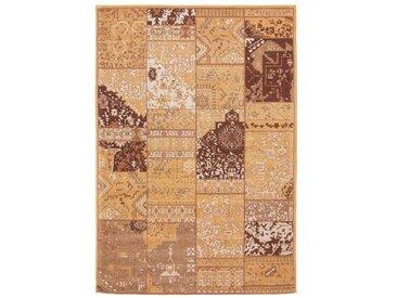 Handgefertigter Kelim-Teppich Iona aus Wolle in Braun