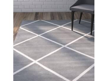 Handgefertigter Teppich Eliza aus Wolle in Grau/Elfenbein
