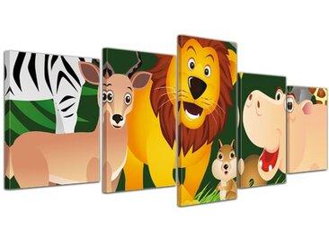5-tlg. Leinwandbilder-Set Kinderbild - Lustige Tiere im Dschungel - Cartoon, Grafikdruck