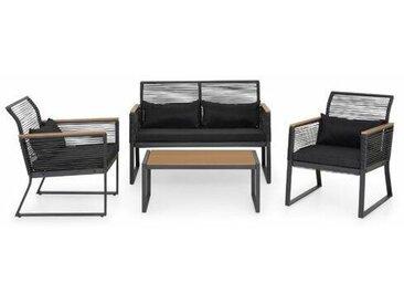 4-Sitzer Lounge-Set Straw aus Rattan mit Polster