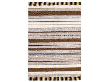 Handgefertigter Kelim-Teppich aus Baumwolle in Ocker