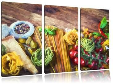 3-tlg. Leinwandbilder-Set Spaghetti mit Gewürzen auf Tisch, Kunstdruck