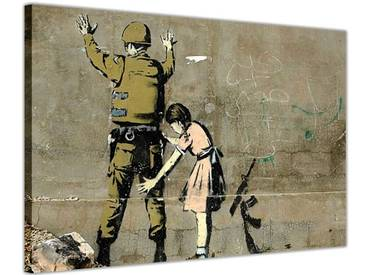 "Leinwandbild ""Girl Searching Soldier"" von Banksy, Grafikdruck"