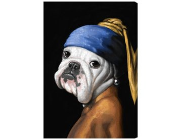 "Leinwandbild ""Dog with the Pearl Earring"" von Art Remedy, Grafikdruck"