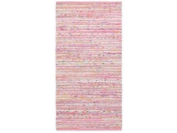 Handgefertigter Teppich aus Baumwolle in Rosa