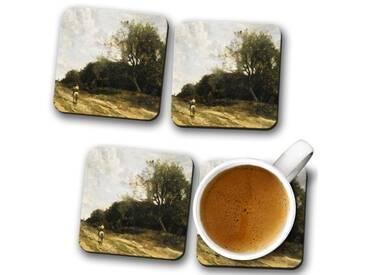 Glasuntersetzer-Set Jean-Baptiste Camille Corot on the Road