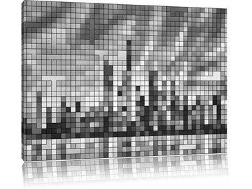 Leinwandbild New York Pixel Skyline in Monochrom