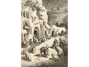 Gerahmter Kunstdruck Gypsy Caves, Sacro Monte, Granada, Spain, from Spanish Pictures by the Reverend Samuel Manning, Published in 1870 by Gustave Dore