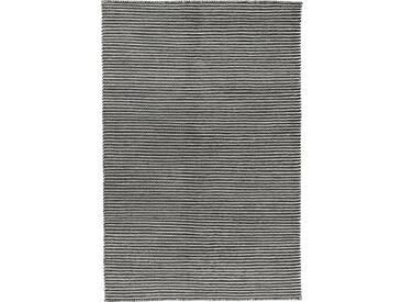 Handgefertigter Kelim-Teppich Leonardo aus Wolle in Schwarz