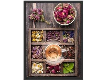 Gerahmtes Wandbild Blumen in rustikalem Setzkästchen