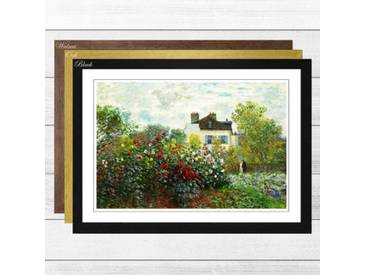 Gerahmtes Wandbild Garden in Argenteuil von Claude Monet