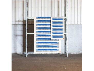 Handgefertigter Flachgewebe-Teppich aus Baumwolle in Blau/Beige