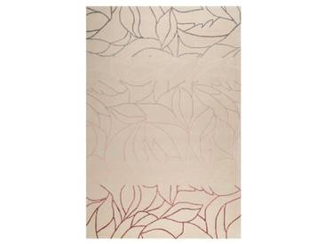 Handgefertigter Teppich Tenya aus Wolle in Beige