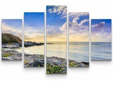 5-tlg.Leinwandbilder-SetSteiniger Strand am Abend
