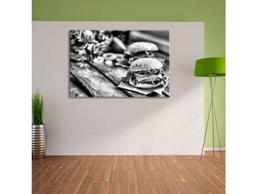 Leinwandbild Leckere Burger in Monochrom