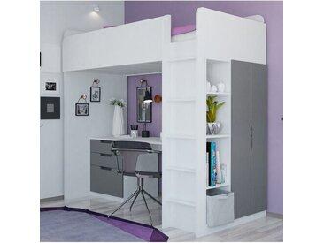 Hochbett mit Regal und Schreibtisch