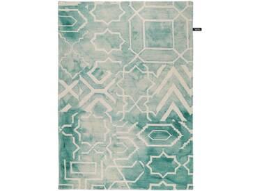 Handgefertigter Teppich Dip Dye aus Wolle in Türkis