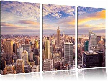 """3-tlg. Leinwandbilder-Set """"Skyline von New York bei Sonnenuntergang"""", Grafikdruck"""