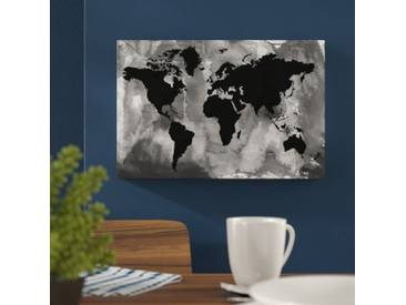 "Leinwandbild ""Maps and Flags Black and White World Map, Grafikdruck"