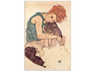 Poster Sitzende Frau von Egon Schiele, Kunstdruck