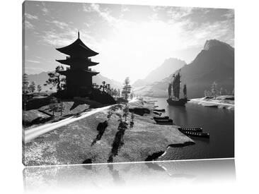 "Leinwandbild ""Beeindruckender asiatischer Tempel an Fluss"", Fotodruck"