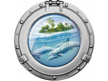 Wandaufkleber Bullauge Delfine - 57 x 57 cm