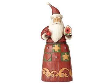 Dekorationsfigur Weihnachtsmann mit Vogelhaus