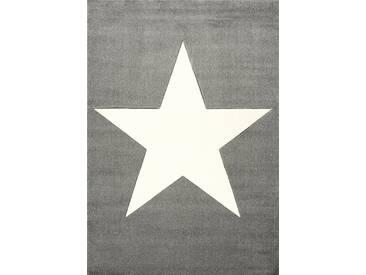 Flachgewebe-Kinderteppich Happy Rugs Star in Grau/Weiß