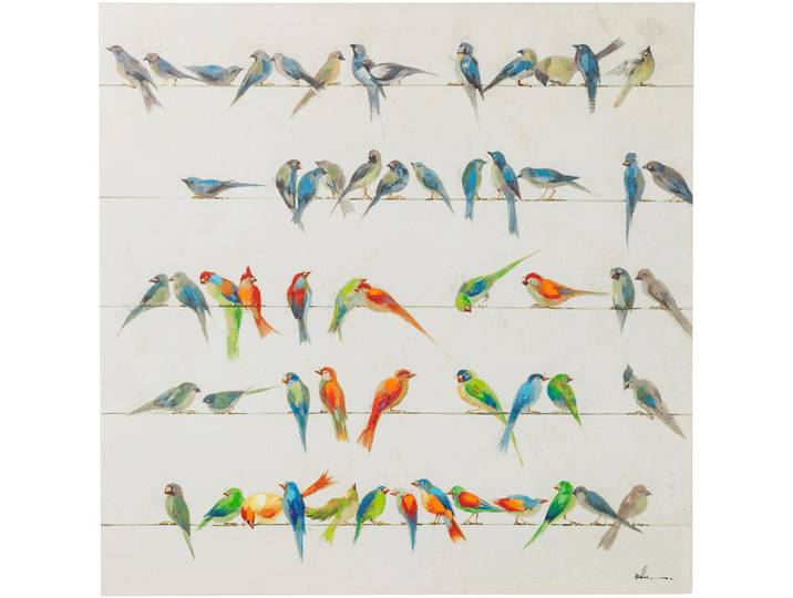 Leinwandbild Touched Birds Meeting Orange