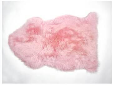 Handgefertiger Teppich aus Schaffell in Rosa