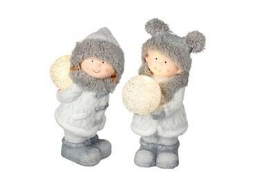 Figur Eskimo-Zwillinge mit Leucht-Schneeball
