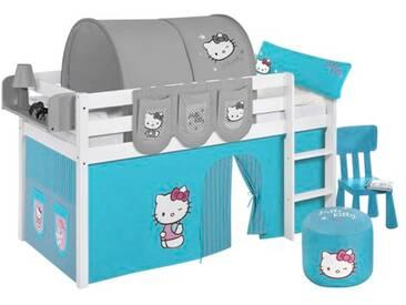 Halbhochbett Hello Kitty mit Hochbettvorhang, 90cm x 190cm