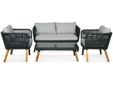 4-Sitzer Sofa-Set Fabian aus Rattan mit Polster