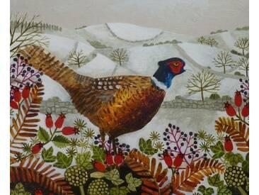 Gerahmter Kunstdruck Pheasant and Snowy Hillside von Vanessa Bowman