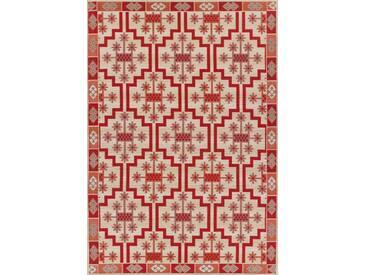 Flachgewebe-Teppich Rom in Rot/Beige