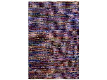 Handgefertigter Kelim-Teppich Columbus aus Baumwolle in Lila