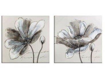 2-tlg. Leinwandbilder-Set Silberne Blumen