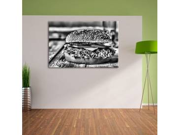 Leinwandbild Burger Hamburger Cheeseburger Käse Fast Food in Monochrom