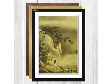 Landscape Japanese Oriental by Kano Masanobu Framed Painting Print