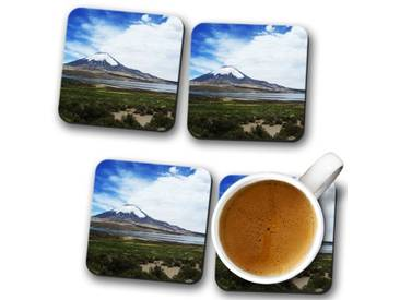 Glasuntersetzer-Set Landscape Volcano Parincota Chile