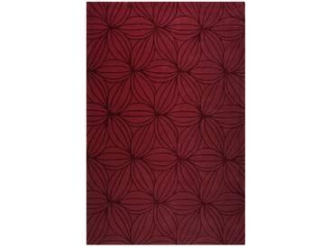 Handgefertigter Teppich Oria aus Wolle in Rot