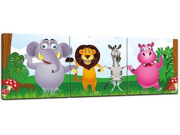 3-tlg. Leinwandbilder-Set Kinderbild Dschungeltiere Cartoon, Grafikdruck
