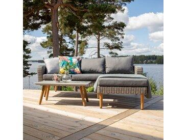 5-Sitzer Lounge-Set Ines aus Polyrattan mit Polster