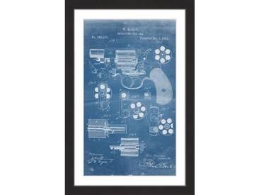 "Gerahmtes Poster ""Revolver 1881 Blueprint"" von Steve King, Grafikdruck"